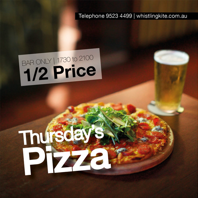 Half price pizzas every Thursday night
